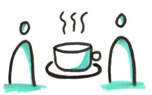 Prendre le café avec des membres de l'équipe les vigies