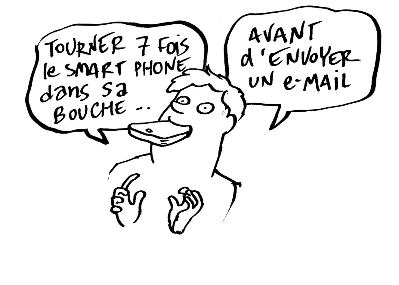 Tourner 7 fois le smartphone dans sa bouche